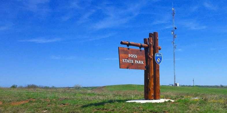 Entrada do Parque Estadual de Foss em Oklahoma