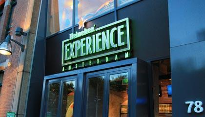 Detalhe da fachada do Heineken Experience em Amsterdam - Capa