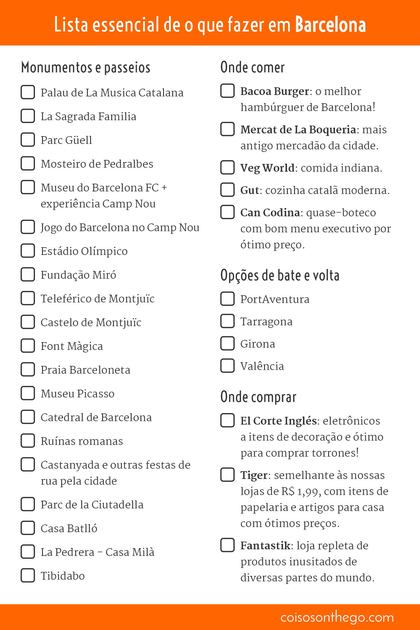 Versão para impressão da lista essencial de o que fazer em Barcelona
